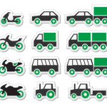 Green transport and travel icons set